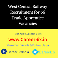 West Central Railway Recruitment for 66 Trade Apprentice Vacancies