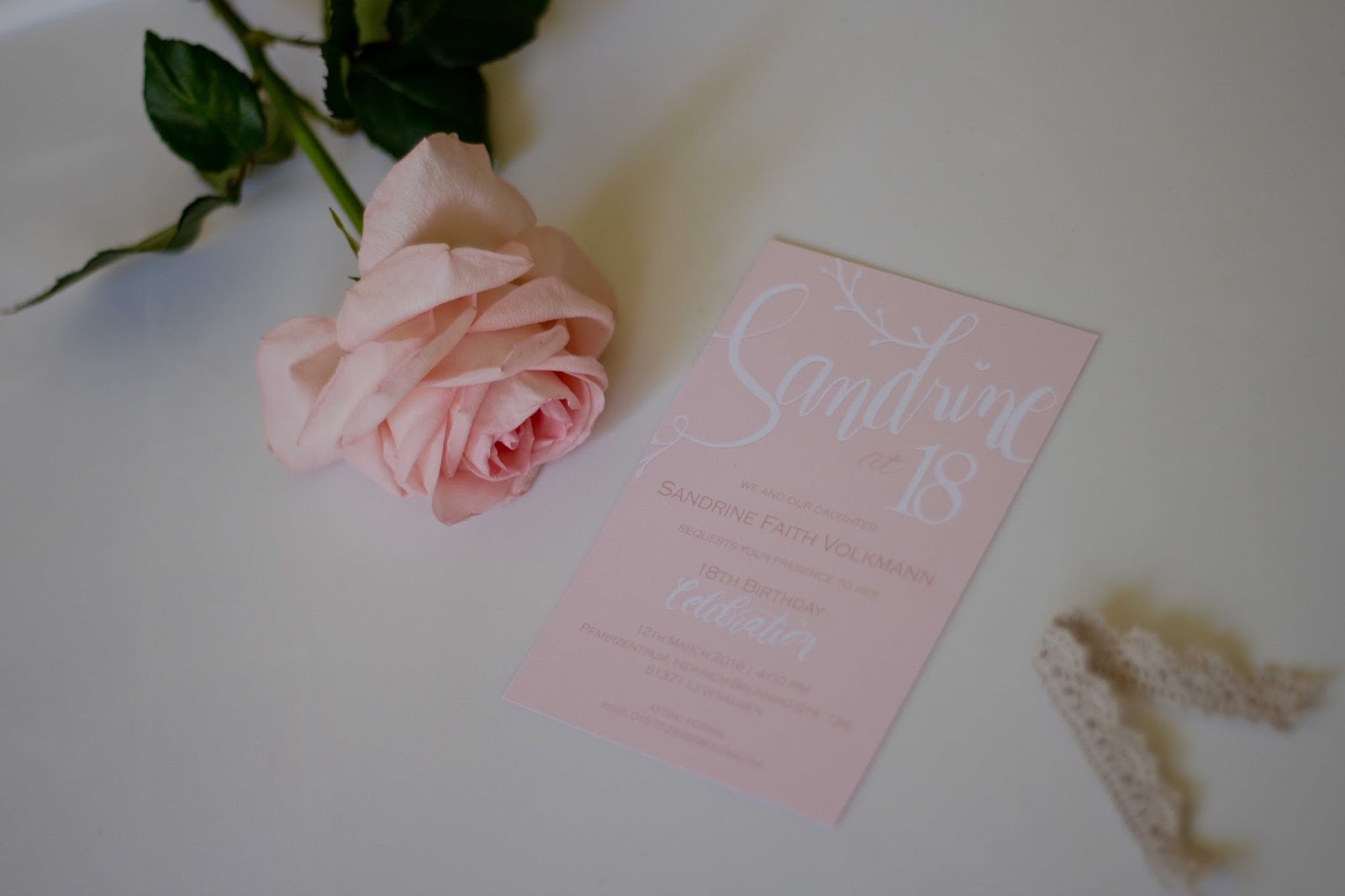 commisioned artwork simple hand lettered invitation for 18th