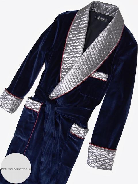 Gentlemans velvet smoking jacket mens quilted silk dressing gown