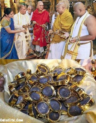 Sudhrshan Saligrama Harams made of 5.5.Kgs Gold-Lord Venkatesh