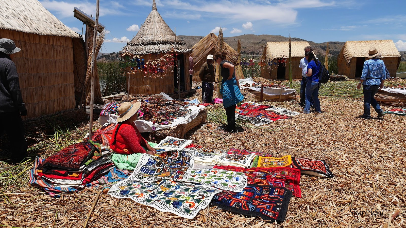 Shopping at the Floating Islands of Uros, Lake Titicaca, Peru