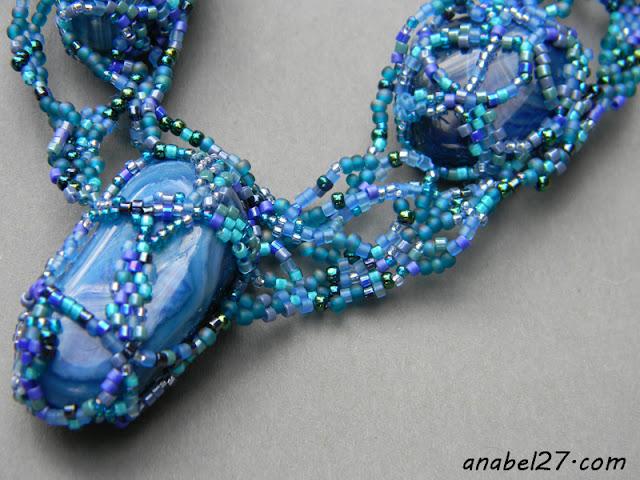 бисер фриформ украшение колье синий бирюзовый с агатами