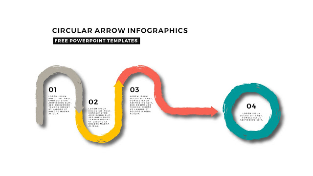 Circular Brush Stroke and Arrow Infographic Free PowerPoint Template Slide 2