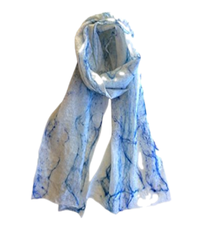Handmade Blue Merino scarf by Mimi Pinto on Amazon UK