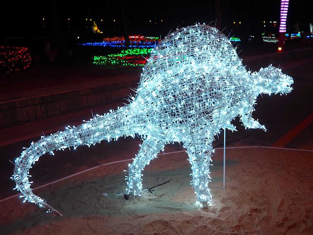 Dinosaur display at the Light Festival at the Yulpo Beach area of Boseong Green Tea Plantation, South Korea