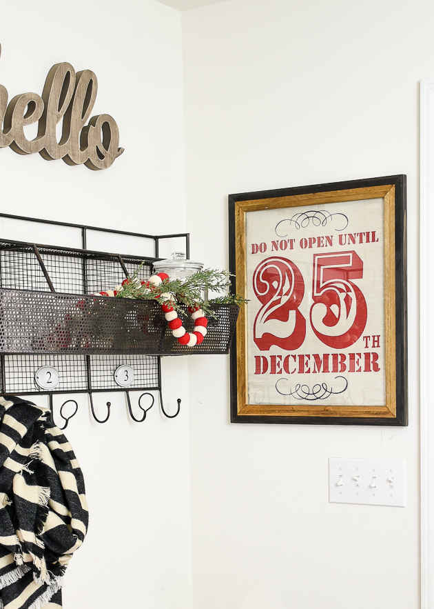Holiday decorated mudroom, Christmas sack turned wall decor, holiday decor, mudroom
