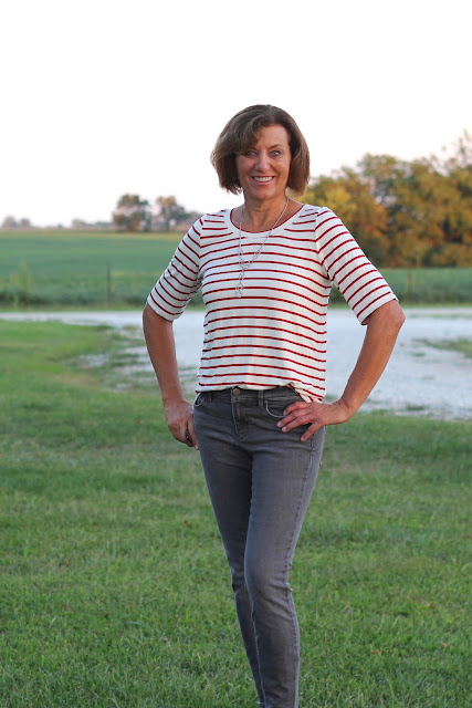 Simplicity 8337 in Style Maker Fabric's stripe knit and center seam omittied