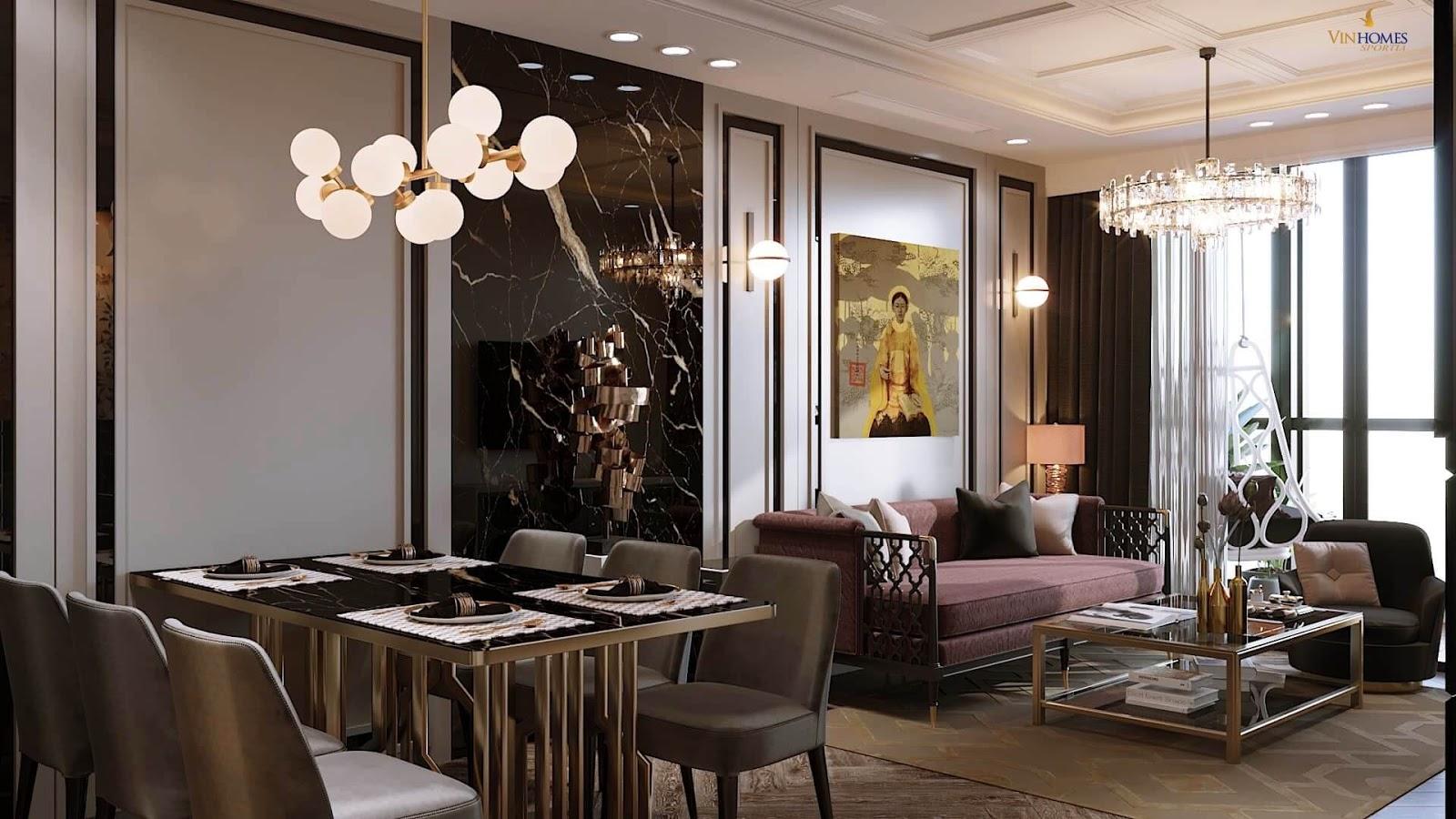 Phòng khách căn hộ chung cư Vinhomes Sportia