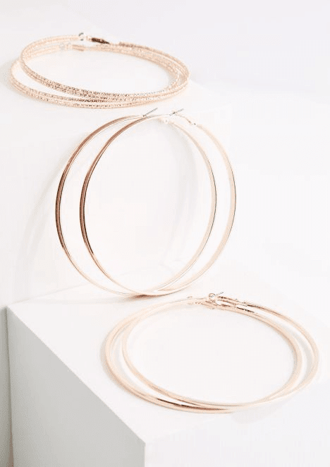 rue21 3 pack Rose Gold Metal Oversized Hoop Earring Set