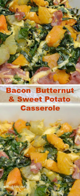 Healthy, delicious, oven baked Bacon Butternut and Sweet Potato Casserole can be served for lunch or dinner {OR leave out the Bacon for a tasty side dish to any meat}