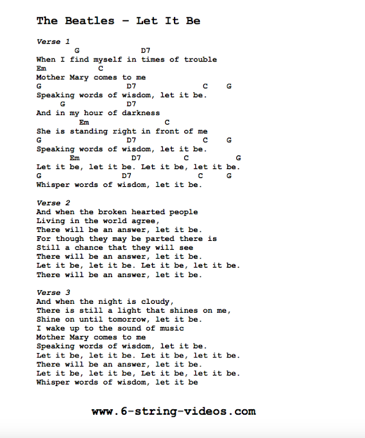 Guitar Tabs: Lyrics And Chords For: Let It Be by The Beatles
