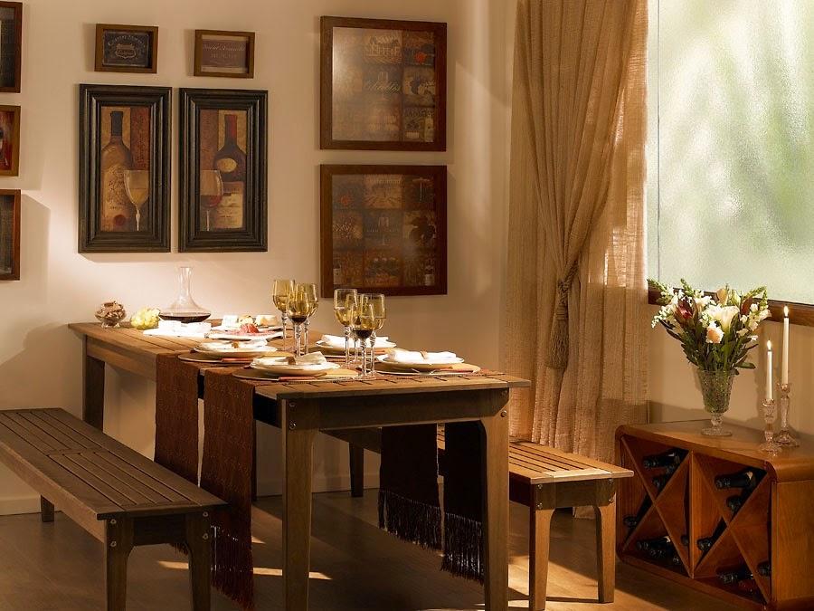 Mesa de jantar rústica com bancos