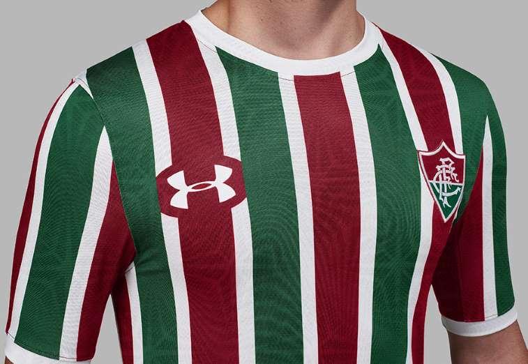 a8089b9656 O Fluminense apresentou nesta sexta-feira suas novas camisas para 2017.  Elas são desenvolvidas pela Under Armour ...