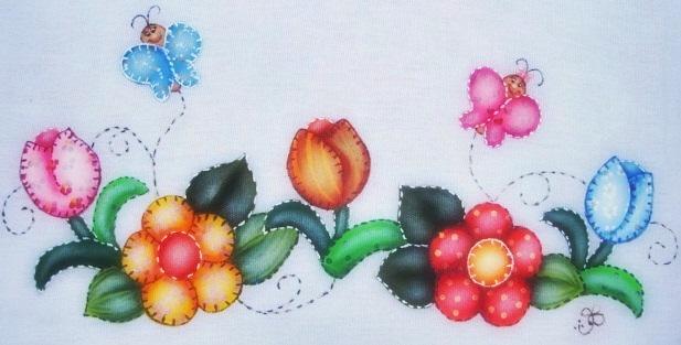 pintura em tecido contry folk art patch apliqué