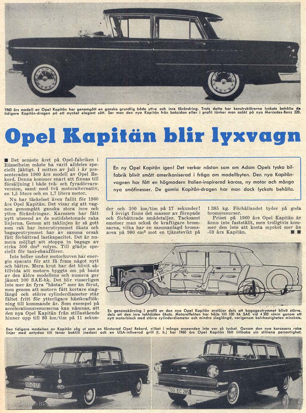 344fa5d1e64 Larssons Blogg: Opel Kapitän blir lyxvagn