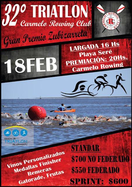 Triatlón de Carmelo Rowing Gran Premio Zubizarreta (Carmelo - Colonia, 18/feb/2017)