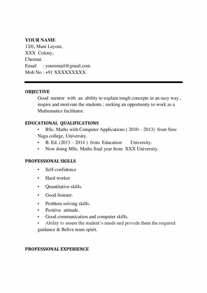 Maths Teacher Resume Word Format  Free Download