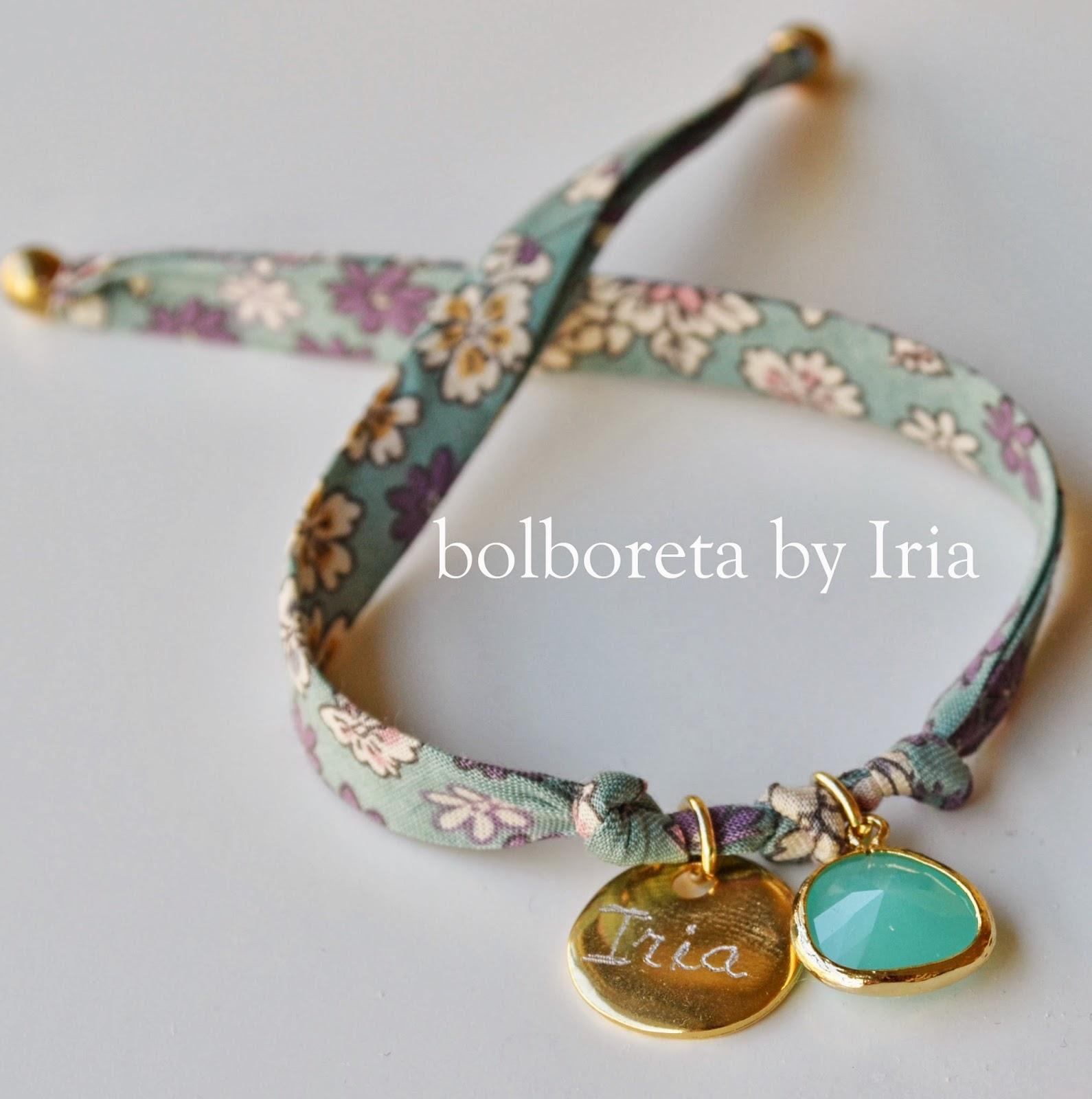 8e6c05839969 Bolboreta by Iria (complementos)  Pulsera de tela liberty con ágatha ...