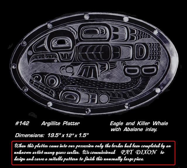 Argillite platter Pat Dixon Haida carver