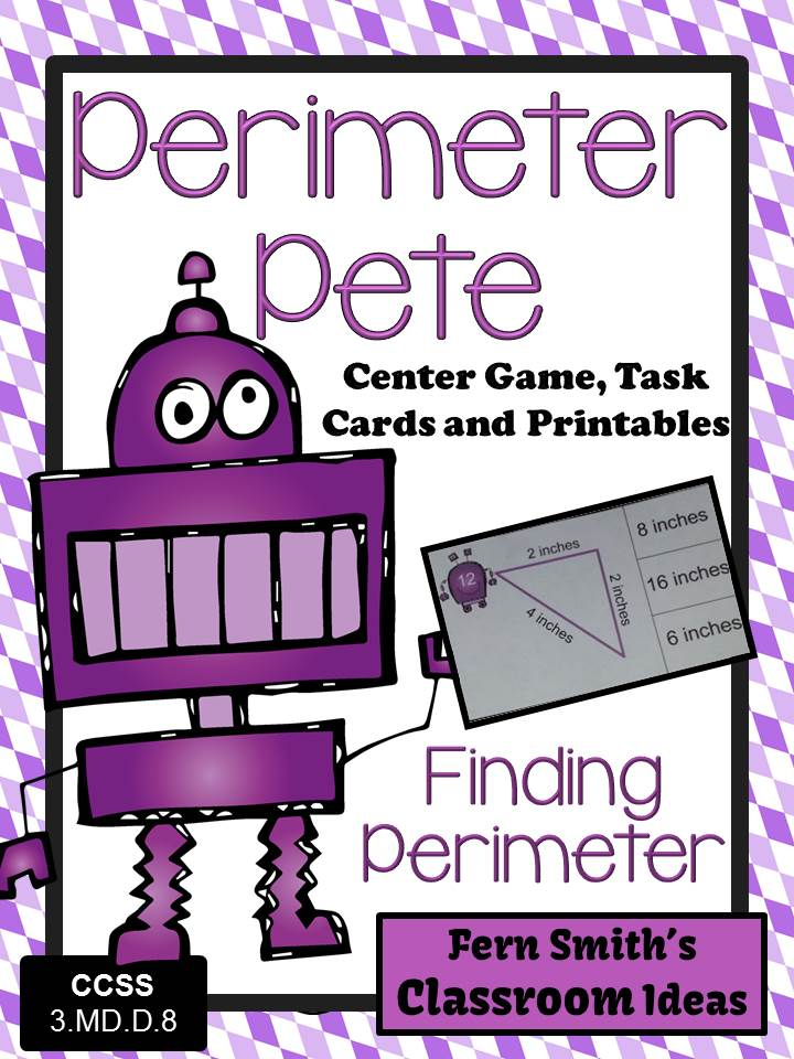 Fern Smith's Classroom Ideas Perimeter Pete Mega Math Pack - Finding Perimeter Printables, Task Cards and Center Game For 3.MD.D.8