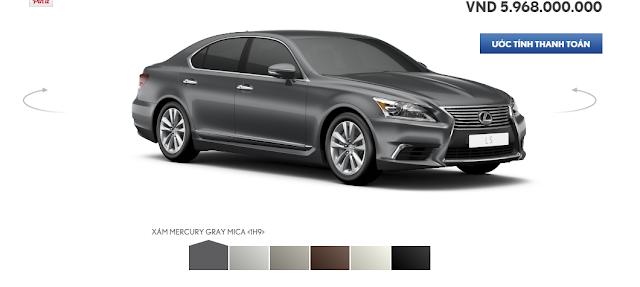 Lexus LS460 có 6 màu ngoại thất bao gồm Xám, Bạc, Nâu Đỏ, Trắng, Đen, Nâu Nhạt