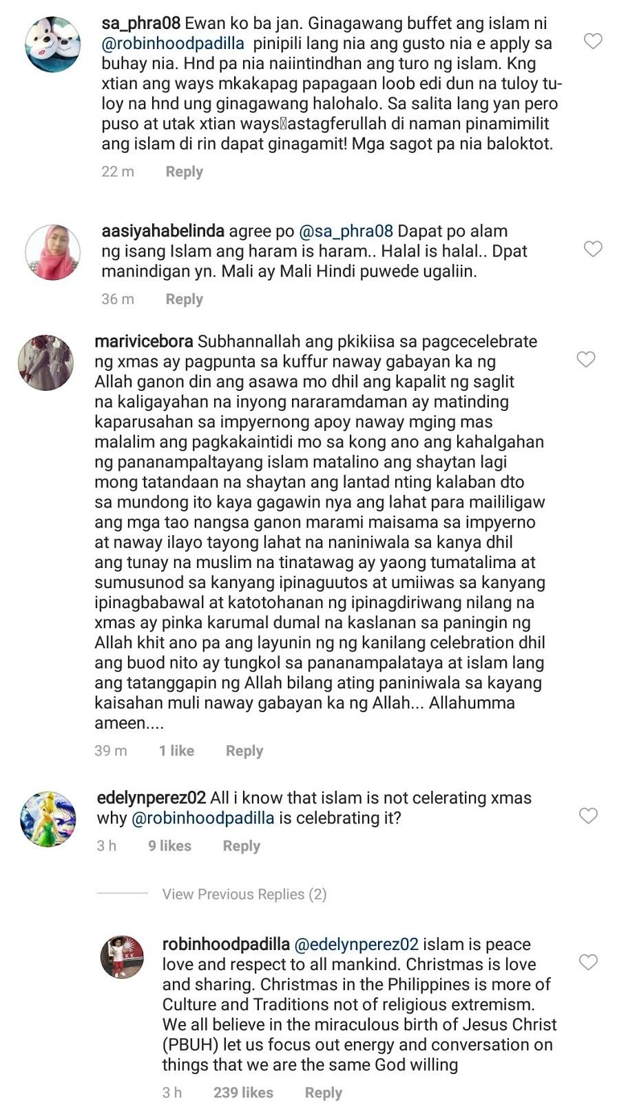 Robin Padilla answered Muslim netizens who criticized him