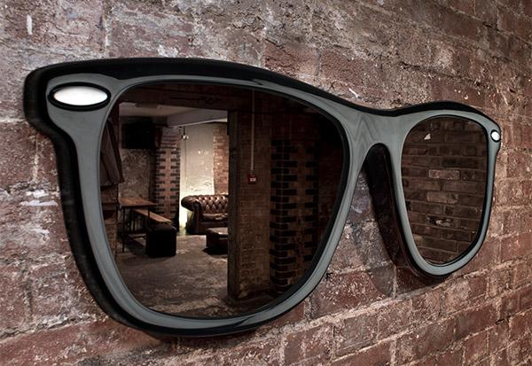 Diseño de espejo doble con forma de lentes
