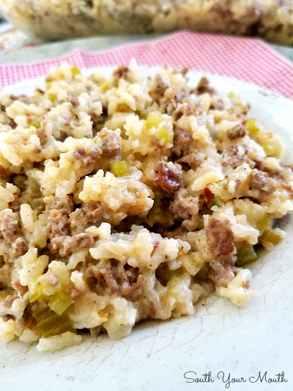 Jailhouse Rice! A delicious casserole recipe with rice, ground beef and sausage perfect for feeding a crowd. #casserole #rice #groundbeef #sausage