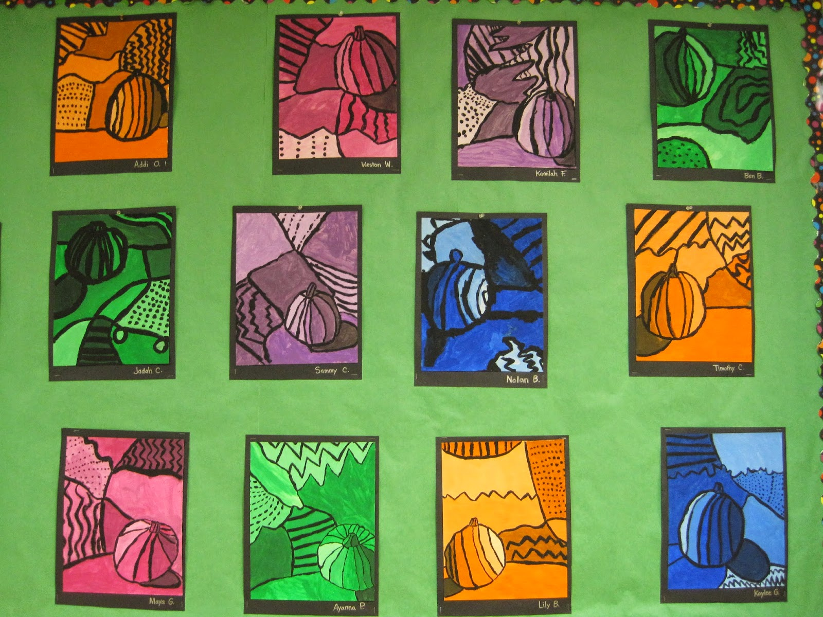 Zilker Elementary Art Class 4th Grade Still Life Bulletin