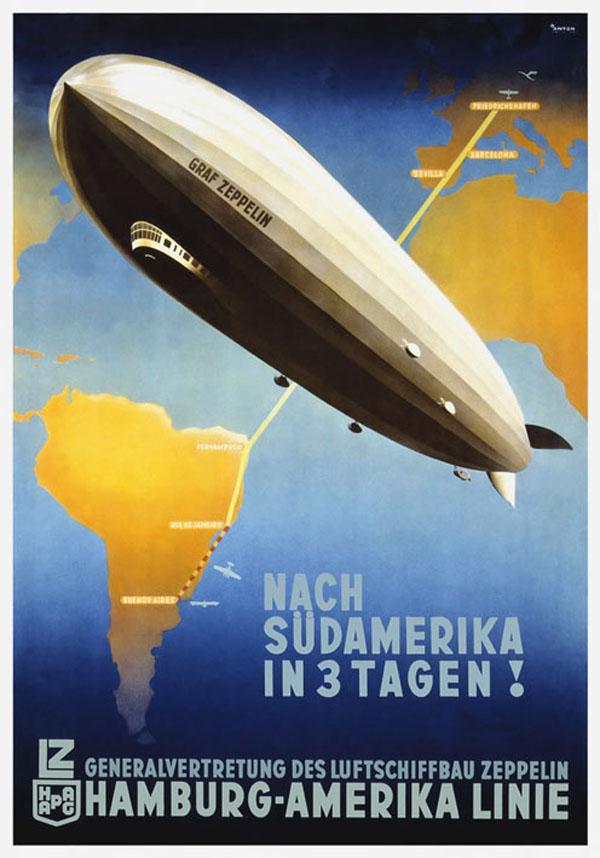 Рекламный плакат с дирижаблем