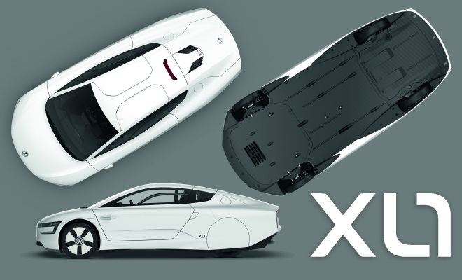 Volkswagen XL1 production car top, underside, profile and badge
