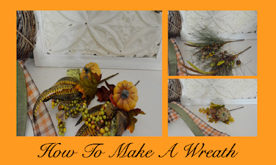 pumpkins, picks, feathers for a wreath