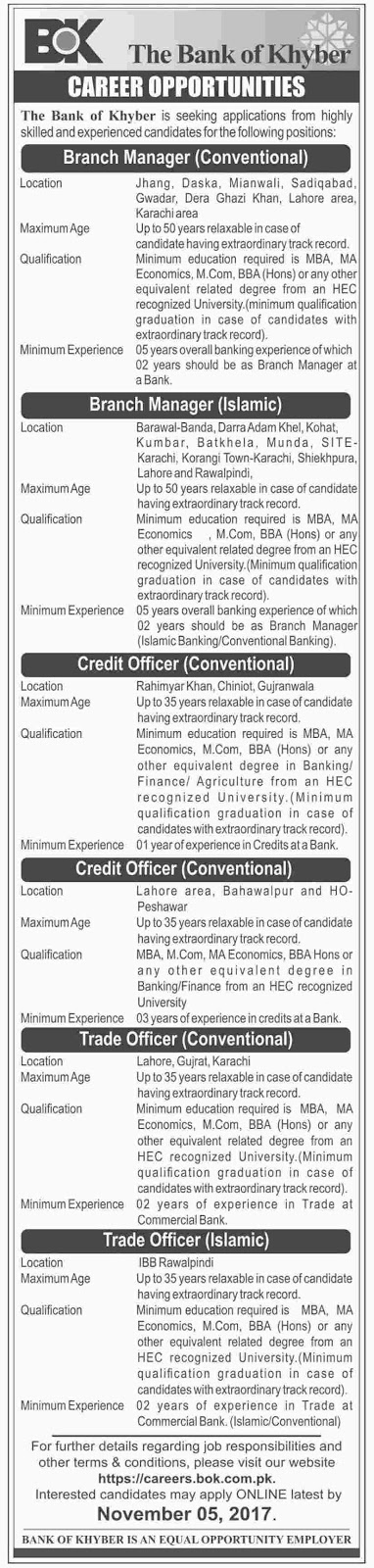Jobs In  The Bank Of Khyber Oct 2017