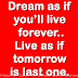 Dream as if you'll live forever.. Live as if tomorrow is last one.