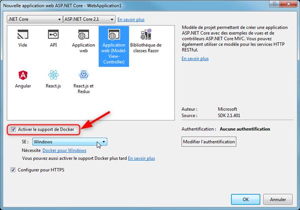ASP.NET Core Activation du support pour Docker