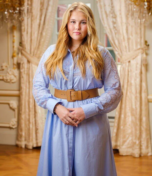 Princess Amalia wore a lace dress by Self-portrait. Alexia wore a straight dress by Sandro. Ariane wore a broderie anglaise mini dress by Maje