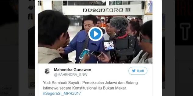 Tagar #SegeraSI_MPR2017 jadi Trending Topik, Netizen Sebar Meme Impeachment Jokowi