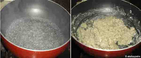 boil water and add the bajra flour