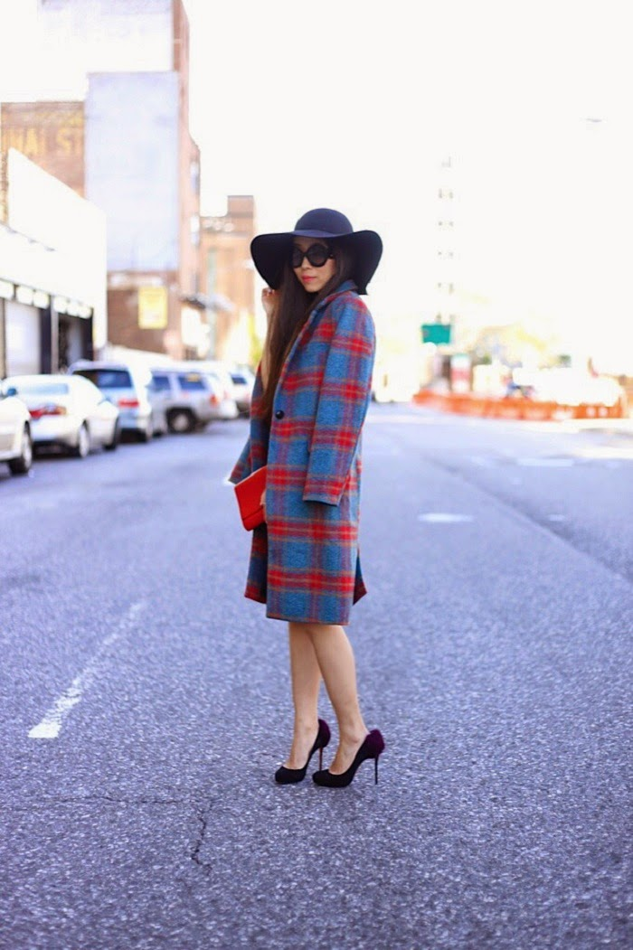 Jay Godfrey Dress,Glamorous coat,NastyGal floppy hat,Prada sunglasses,Christian Louboutin heels,Saint Laurent Clutch,Pandora leaves collection, statement necklace, special occasion dress, street style, fashion blogger, shallwesasa, new yorker