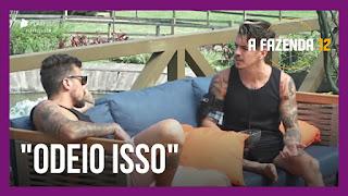 A Fazenda 12 – Biel avalia Jojo no no reality – Lucas e Jakelyne conversam sobre o voto dos peões