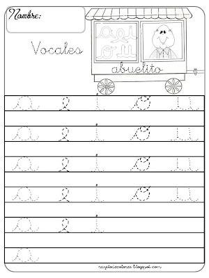 caligrafía Vocales