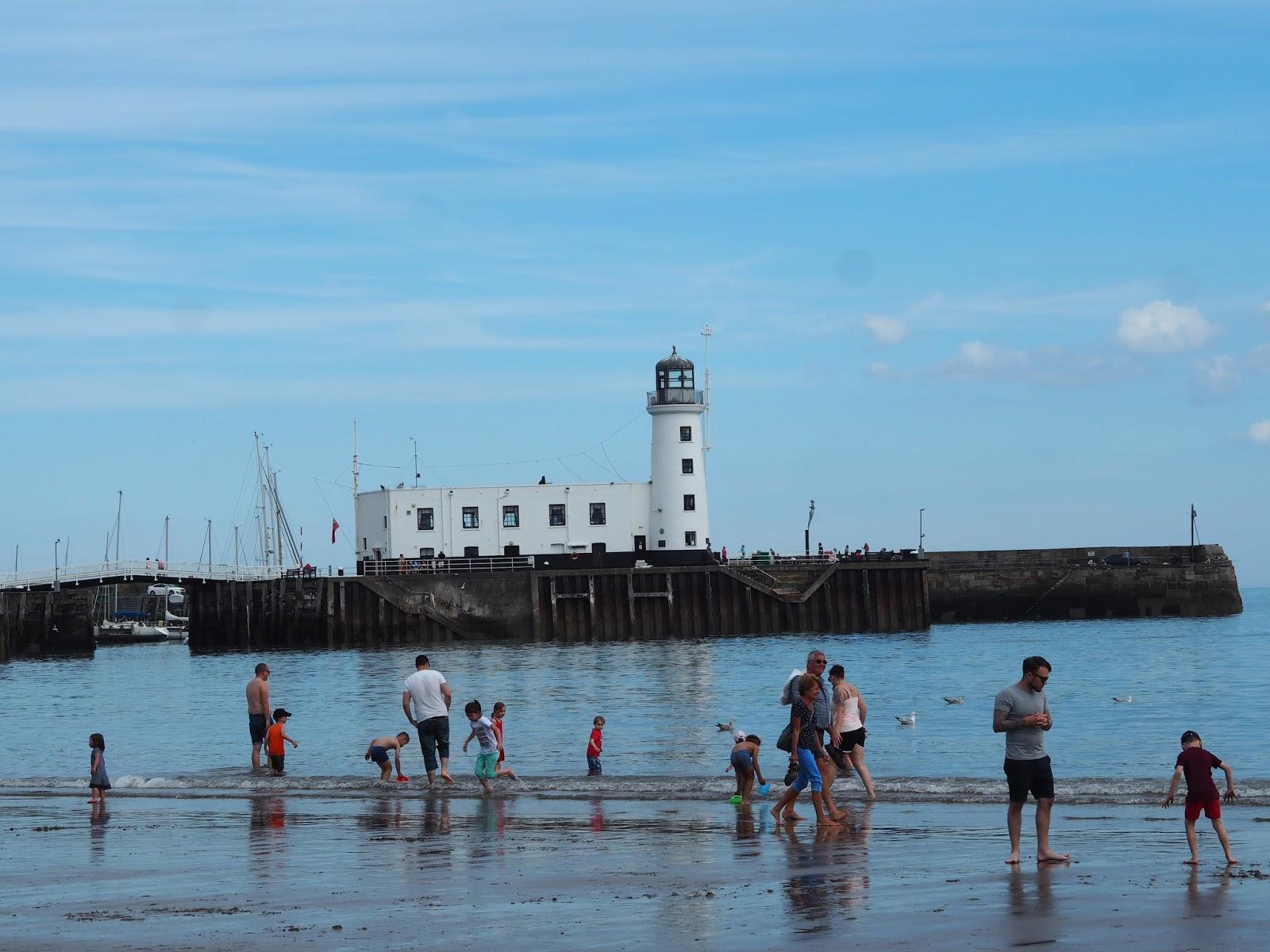 Beach, sea, lighthouse, South Bay Scarborough