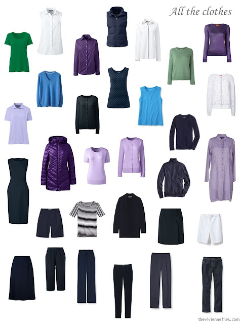 a complete wardrobe in navy, purple, blue, green and white