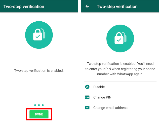 2-Step Verification is now enabled. Click on done