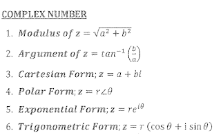 Summary of Chapter 3 | Complex Number | List of Formula | June 2017