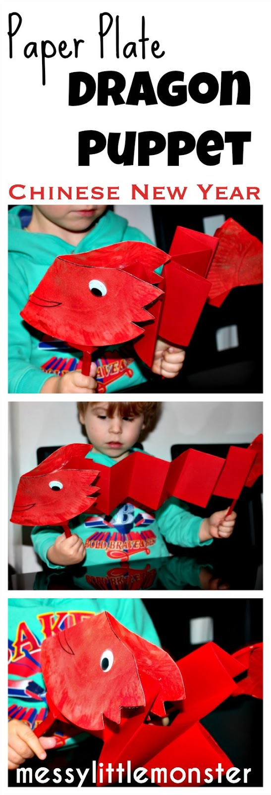 Paper plate dragon puppet.  A simple Chinese new year craft for kids, toddlers, preschoolers, eyfs.