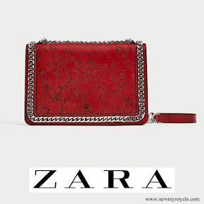 Queen Letizia carried ZARA Laser Cut Leather Crossbody Bag