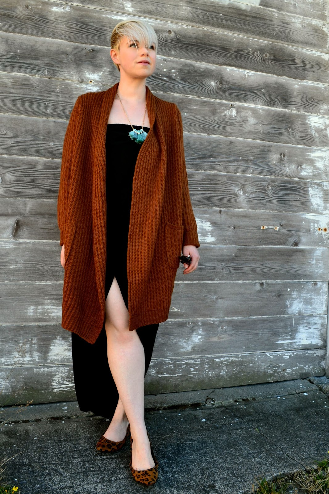 Black dress cardigan - Black Dress With Cardigan Look Of The Day Cozy Brown Cardigan And Black Dress