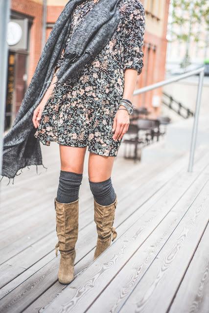 novamoda style, look, jesienne inspiracje, jesienne kolory, trendy, modne sukienki, sukienka, jesienny styl, buty za kolano, overknee boots, goshico,
