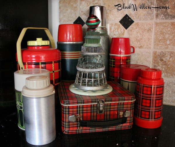 junky Christmas trees and vintage lunch pail and thermoses featured at MySalvagedTreasures.com